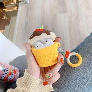 NEW Ice Cream Airpods Silicone Case W/Ring Strap